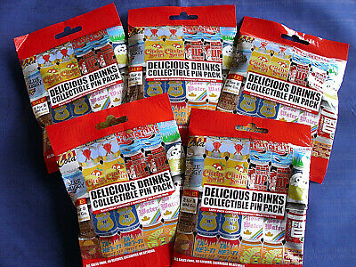Disney * DELICIOUS DRINKS * 5 PACKS * NEW 5-pin Collectible Mystery Pack Pins