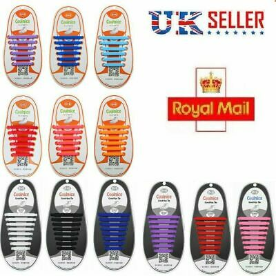 Elastic Rubber No Tie 'Lazy' Shoe Laces Shoelaces Trainers Shoes Adult & Kids❤