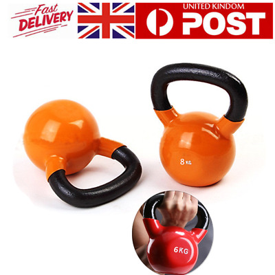 6/8/10KG Cast Iron Kettlebells Vinyl Weight Exercise Strength Training Home Gym