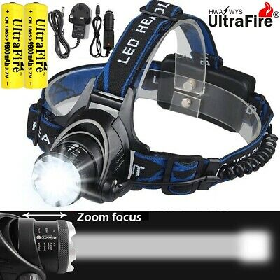 Zoom Headlamp 150000LM Rechargeable T6 LED Headlight Flashlights Head Torch Camp