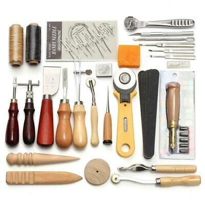 DIY Leather Craft Punch Tool Kits Stitching Carving Working Sewing Saddle Groove