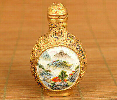 vintage Chinese Old cloisonne Hand painting landscape Statue snuff bottle gift