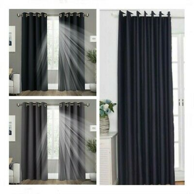 Thick Thermal Blackout Curtains Eyelet Ring Top Heavy Thick Grommet Pair Single