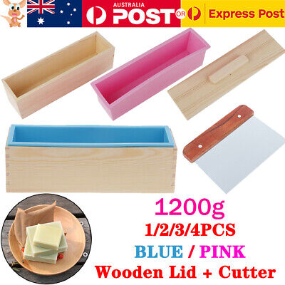 4Pcs 1.2kg Blue Pink Wood Loaf Soap Mould Silicone Mold Wooden Box LID + CUTTER