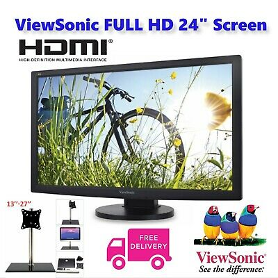 "Full HD 24"" HDMI WIDESCREEN Gaming Monitor PC Freesync 1080p LED LCD + NEW STAND"