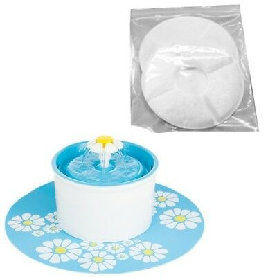 2*Flower Style Filter Fountain Pet For Automatic Cat Dog Water Drinking FA3