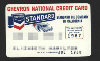 CHEVRON NATIONAL CREDIT CARD standard oil of California expired 1968 -