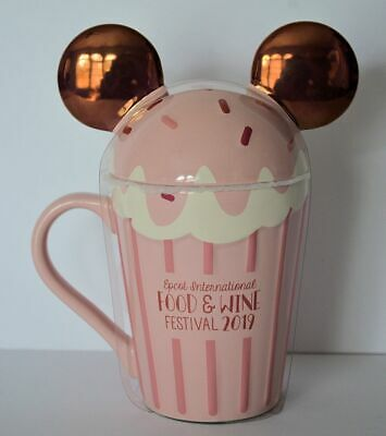 Disney Parks 2019 Food and Wine Festival Rose Gold Minnie Cupcake Cup Mug NEW