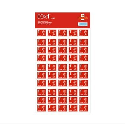 50 Royal Mail First Class Large Letter Size 1st Class Stamps