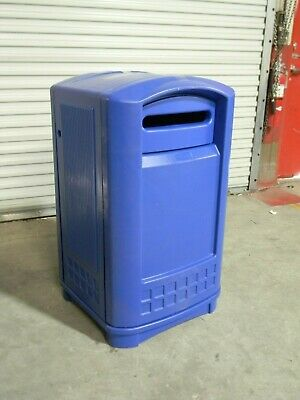 Rubbermaid 50 Gal. Plaza Blue Recycling Container Waste Receptacle FG396973BLUE