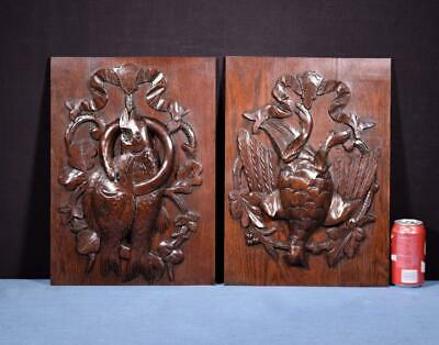 *Pair of Antique French Hunting Style Carved Panels in Solid Oak Wood Salvage