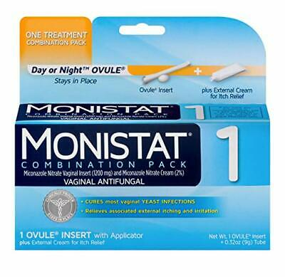 Monistat 1-Day Yeast Infection Treatment Ovule + Itch Cream (exp 07/2020)