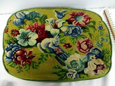 """VINTAGE HAND STITCHED NEEDLEPOINT THROW PILLOW with BIRD & FLOWERS 19.5"""" X 14.5"""""""