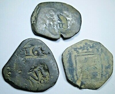 3 1600s Copper Spanish Cob 6 Maravedis Counterstamped Pirate Colonial Coin Money