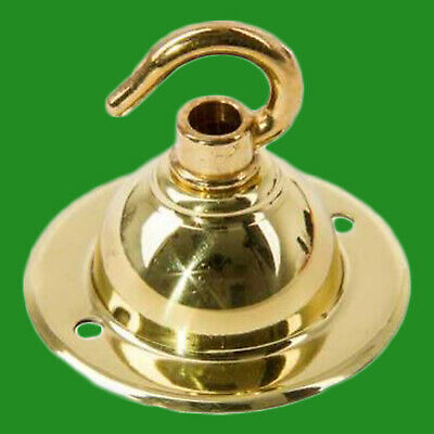 2x Polished Brass Ceiling Hook Plate Chandelier Light Fitting Base Fixing Plate