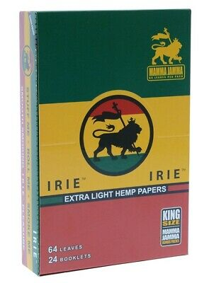 Full Box IRIE Light Hemp Cigarette Rolling Papers KING SIZE 24 packs/64 leaves