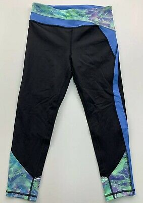 Youth Girls Ivivva Hyper Track Reflective Crop Leggings Size 12 Black / Blue