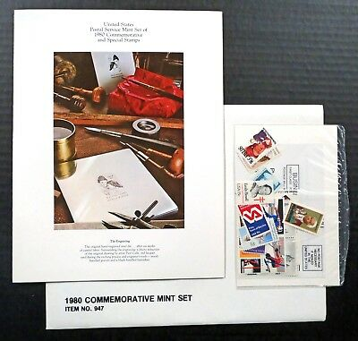 US 1980 MINT NH Complete Commemorative Year Set of 28 Stamps in Folio