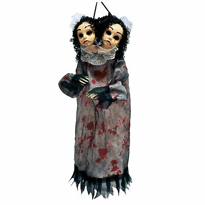 "21"" Bloody Two Headed Twin Doll Hanging Haunted House Scary Halloween Decor Prop"