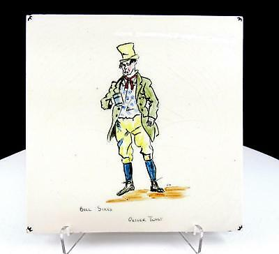 """T&R Boote England Bill Sikes Oliver Twist 6"""" Square Tile 1890-1906"""