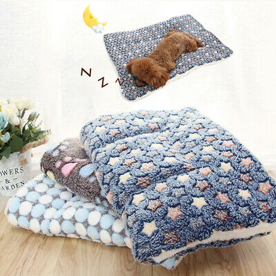 AU Floral Pet Dog Paw Puppy Cat Soft Blanket Warm Double-sided Fleece Mats