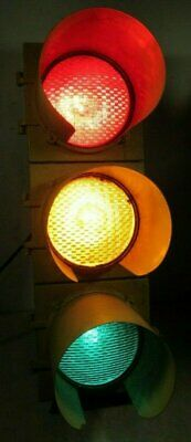 Large Vintage Traffic Signal Light w Visors Red Yellow Green Bar Man Cave Club