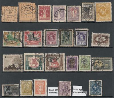 Lithuania pre-1930 hi val selection 24 diff stamps cv $65.75
