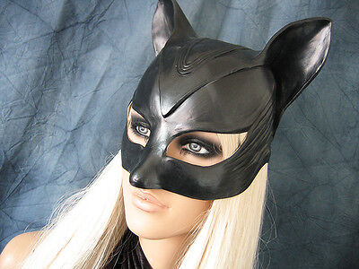 CATWOMAN HAUBE - Weibl. Latex Ohren-Maske Batman Katze Kitty Pet Play Gummi Hood