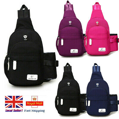 Men Womens Cross body Sling Backpack Chest Travel Shoulder Bag Cycling Hiking UK