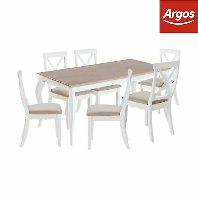Argos Home Southwold Oak Veneer Table & 6 Chairs - Two Tone