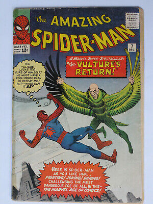 AMAZING SPIDER MAN # 7  US MARVEL 1963 2nd Vulture Stan Lee Steve Ditko  G/G-