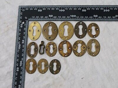 14x ANTIQUE GEORGIAN VICTORIAN BRASS DOOR LOCK HANDLE DRAWER ESCUTCHEONS 2of2