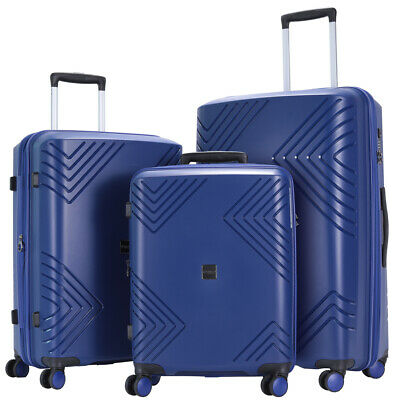 GinzaTravel luggage set 3 piece PP blue Lightweight Spinner Expandable Suitcase