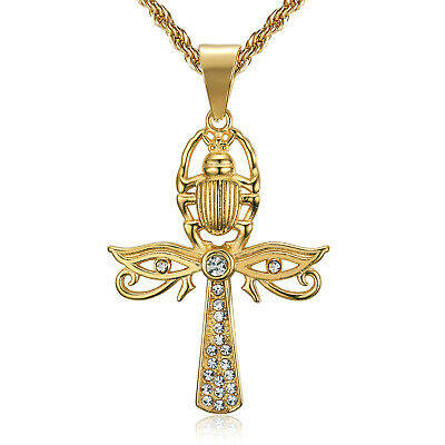 LIF Eye of Horus and Scarab Egyptian Protection Ankh Cross Pendant Necklace