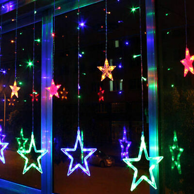 LED Star Fairy String Curtain Window Lights Twinkle Christmas Party Wedding UK