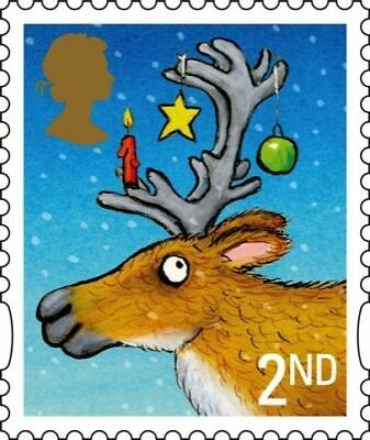 GB -100 (105) x 2nd Class Christmas stamps Unfranked Stamps Off Paper no gum