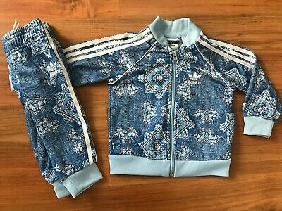 BABY Girls BLUE Patterned ADIDAS ORIGINALS TRACKSUIT (6-9months) *NICE COND*