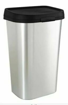 Curver 50L Mistral Bin Silver Rust Resistant Metal Look Kitchen Rubbish