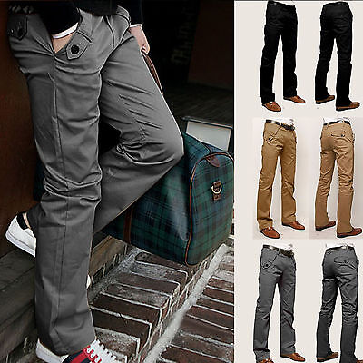 Mens Business Formal Cotton Smart Slacks Flat Front Pants Straight Leg Trousers