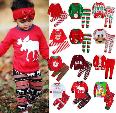 Christmas Child Kids Baby Boys Girls Xmas Pj's Cotton Nightwear Pyjamas PJS Set