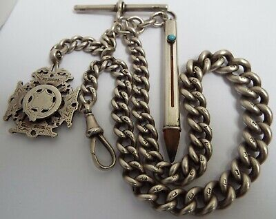 SUPERB CLEAN HEAVY 74g ENGLISH ANTIQUE 1900 STERLING SILVER ALBERT CHAIN & FOBS