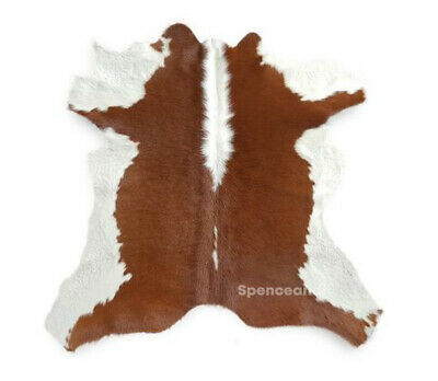 Small Cowhide Cow Hide Rug Skin  - Brown and White - Premium Quality Print