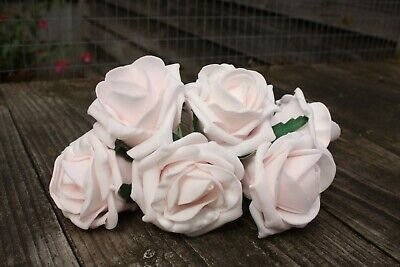 6 x PALEST BABY PINK (HINT OF PINK)  COLOURFAST FOAM COTTAGE ROSES 6cm