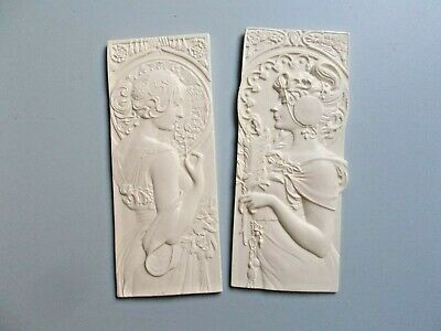 Two Wall Ornate Style Plaques Mouldings White