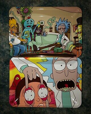 Rick And Morty Rolling Tray with Raw Organic Hemp Papers and Tips