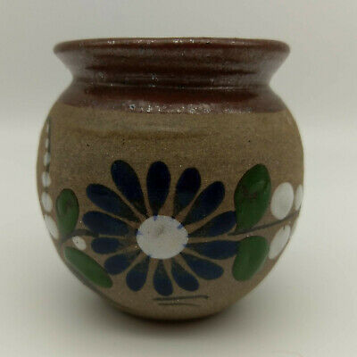Small Mexican Hand Painted Clay Stoneware Pot Candle Jar Southwestern