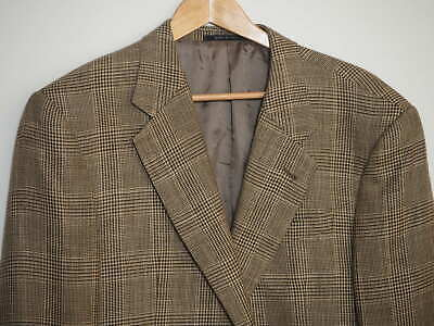 Armani Collezioni 44L Sport Coat Wool Silk Linen Black White POW Glen Plaid