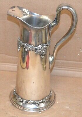 """Vintage English HallMarked Silver Plated Wine Pitcher 12"""" Tall Grape Decorations"""