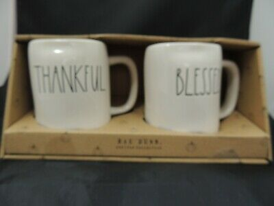 New Rae Dunn Thankful, Blessed Mug Set LL HTF Thanksgiving
