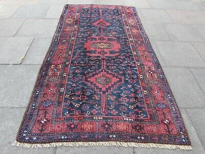 Antique Vintage Hand Made Traditional Rug Oriental Wool Blue Red Rug 278x145cm